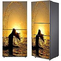 Q&M Reformado Pegatinas Refrigerador Congelador Cocina Decorativo Auto-Adherente Impermeable Art Ola del Mar Patrón,60 * 180Cm