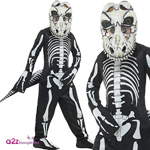 Smiffys, Kinder Unisex T-Rex Skelett Kostüm, Ganzkörper Anzug, Schwanz und Maske mit linsenförmigen 3D Augen, Alter: 10-12 Jahre, 48006 (Eva-skelett)