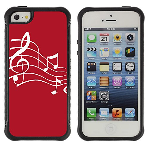 Graphic4You Musik Noten Muster Design Shockproof Anti-Rutsch Weichen Hülle Case Tasche Schutzhülle für Apple iPhone SE / 5 / 5S (Rot) Rouge
