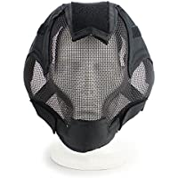 haoyk Tactical Airsoft Acero neto malla de jardín Cosplay máscara funda completa cara protección militar Paintball máscara, negro