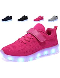 adituob Kids LED Light Up Casual Shoes Fashion Breathable Mesh Flashing Sneakers Trainers Outdoor Shoes for Boys Girls