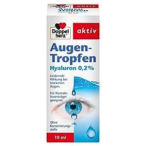Doppelherz Augen-Tropfen Hyaluron 0,2 % – Augentropfen ohne Konservierungsstoffe mit lindernder Wirkung bei trockenen Augen – Für Kontaktlinsen-Träger geeignet – 1 x 10 ml