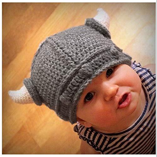 Imagen de gaoxuqiang sombrero infantil de invierno para bebé sombreros de ganchillo hechos a mano niño viking horns hat,gray,s alternativa