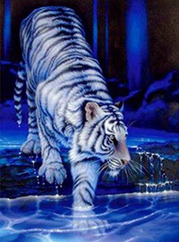 �lde Stickerei Harz Acryl Strass Werkzeug weißer Tiger Diamant Gemälde Kreuz Kunst Stich Tiger Nieder Fluss Bild Kristall Mosaik Segeltuch 5D Gemälde , square diamond , 50*67 cm (Halloween-katze-namen)