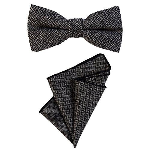 DonDon Herren Fliege 12 x 6 cm mit farblich passendem Einstecktuch 23 x 23 cm beides aus Baumwolle im Tweed Look schwarz grau kariert