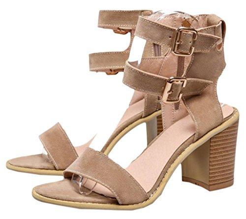 Y-BOA 1 Paire Sandales à Talon Haut Bloc Cheville Chaussures Été Femme Lanières Similicuir Nubuck Beige