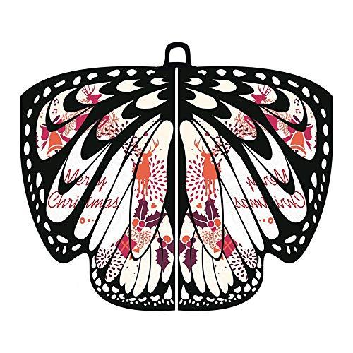 Alni Damen 168X136CM Weiche Gewebe Pfau Schmetterlings Flügel -