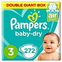 Pampers Baby-Dry Diapers, Size 3, Midi, 6-10 kg, Double Giant Box, 272 Count