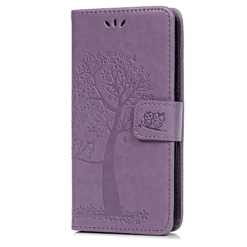 Nokia 4.2 Hülle 2019, Lederhülle Handy Wallet Flip Leder Case Tasche Brieftasche Etui Standfunktion Schutzhülle für Nokia 4.2 2019 Eulenbaum im Bookstyle, Helles Lila Alle Nokia-flip-telefone