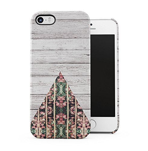 Marble Stone Camomile Floral Daisies Chevron Apple iPhone 5 , iPhone 5S , iPhone SE Snap-On Hard Plastic Protective Shell Case Cover Custodia Wood Floral