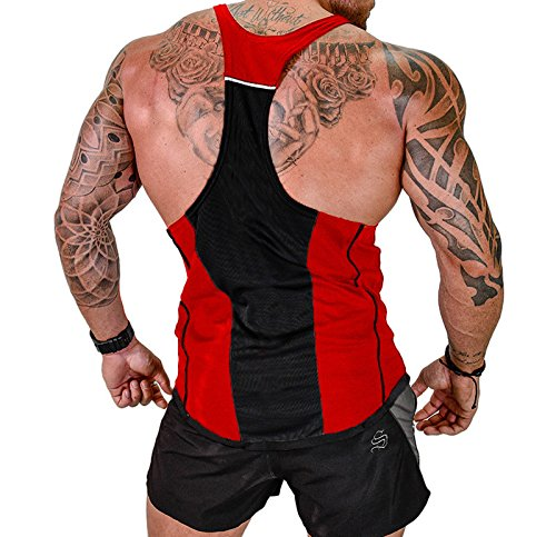 Vergiss para Hombre Muscle Gym Stringer Tank Top para Culturismo (Black & Red, XL)