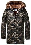 Sixth June Herren Parka Winter Jacke Fell Kapuze Lang Zipper schwarz grün M2000 M3310, Größe:M, Farbe:Camouflage