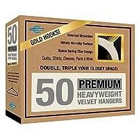 Closet Complete Premium Quality, True-Heavyweight, 80-gram, Virtually-UNBREAKABLE Velvet Hangers, Ultra-Thin,  No Slip, Best for SUIT, Dress, Pants, Shirt, 360º Spin, GOLD Hooks, Ivory Set of 50