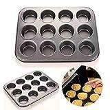 Muffin-Backform für 12 Muffins, mikrowellengeeignet, antihaftbeschichtet, Backform zum Backen