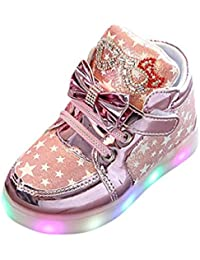 Toddler Baby Boy Girl Boots Mingfa Winter Fashion Bowknot Luminous Light Shoes for Kids Child(1-6 Years Old) (Age:2T, Pink)