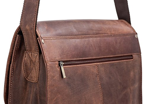PACKENGER Ledertasche | Damen Umhängetasche Leder braun | Laptop Bag Herren | Aktentasche · Laptoptasche unisex | Notebook bis 13,5 Zoll Vintage Braun