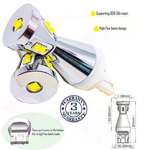 Preisvergleich Produktbild Wiseshine 7443 w21 5w t20 w3x16q autolampe led auto bulb DC9-30v 3 Jahre Qualitätssicherung (Satz von 2) 7443 9 led hohe Leistung grün