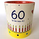 Tasse 60. Geburtstag, Kaffee-Tasse 60 ist das neue 40, Tasse Lieblingsmensch, Geschenkidee 60. Geburtstag, Geschenkidee Vater, Geschenkidee Mutter, Geburtstagstorte, last minute Geschenk, versandfertig, runder Geburtstag