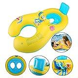 Glagie Schwimmhilfe Schwimmring für Baby von 6 Monaten bis 2 Jahre und Mutter Aufblasbare Umweltfreudlich Schwimmreifen mit Glocke Gelbe