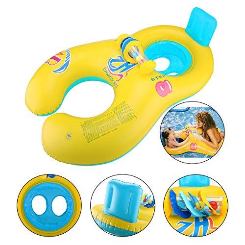 Preisvergleich Produktbild Glagie Schwimmhilfe Schwimmring für Baby von 6 Monaten bis 2 Jahre und Mutter Aufblasbare Umweltfreudlich Schwimmreifen mit Glocke Gelbe