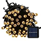 lederTEK Solar Powered Waterproof Fairy String Lights 100 LED 39ft 8 Modes Christmas Decorative Lamp for Outdoor, Garden, Home, Wedding, Xmas New Year Party (100 LED warm white)