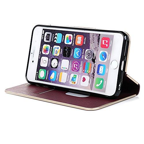 Mavis's Diary Coque iPhone 6 / iPhone 6S (4.7'') Étui Housse de Protection PU Cuir + TPU Silicone avec PC Antichoc Bookstyle Coque en Cuir Case à Rabat Portefeuille Carte Slot + Chiffon - Rouge vineux Rouge vineux