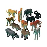 Wild Jungle Animal Toy Figures, Pack of 12 Assorted