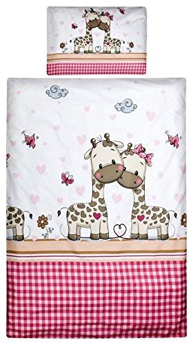 Aminata Kids - Kinderbettwäsche Bettwäsche Kinder 100x135 cm Baumwolle Mädchen Zoo-Tiere Tiermotiv Giraffe Babybettwäsche