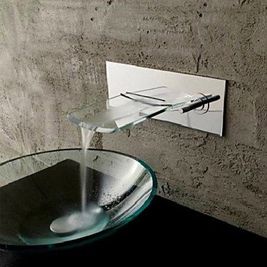 Miaoge Wall Mounted Chromed Copper Waterfall Bathroom Sink tap - Silver