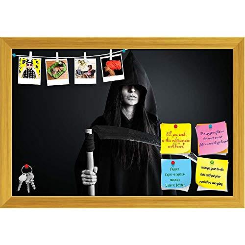 Artzfolio Halloween Horror D5 Printed Bulletin Board Notice Pin Board   Golden Frame 23.5 X 16Inch