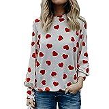 JUTOO Frauen Lieben Geschenk Langarm Crop Jumper Pullover Tops(Wassermelonenrot,EU:42/CN:L)