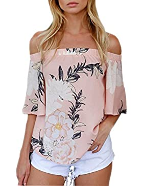 FAMILIZO Mujeres De La Manera De Las Camisetas Ocasionales Impresas Florales De La Blusa Del Hombro T-Shirt Camisetas