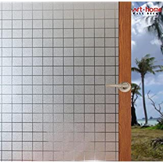 Arthome Frosted Decorative Privacy Window Films No Glue Self Static Cling Anti UV Non-Adhesive Removable for Bathroom Living Room Bedroom Kitchen Office Home (AH012, 17.7 x 100 inch)