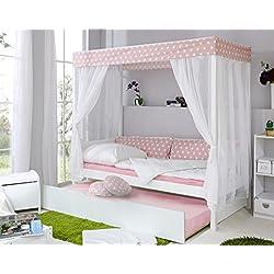 Ticaa Himmelbett Rosa 310 Kiefer Weiß (Rosa/Weiß Stern)