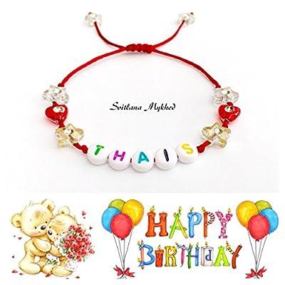 """Bracelet avec prénom """"THAIS"""" (réversible, personnalisable) homme, femme, enfant, bébé , nouveau-né."""