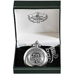 Mullingar Pewter Pocket Watch With Shamrock & Ireland Text Design