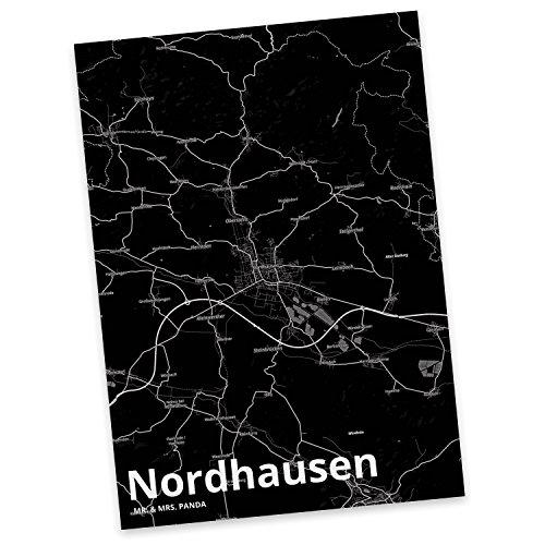 Mr. & Mrs. Panda Postkarte Stadt Nordhausen Stadt Black - Stadt Dorf Karte Landkarte Map Stadtplan Karte, Einladung, Fan, Fanartikel, Souvenir, Andenken, Fanclub, Stadt, Mitbringsel