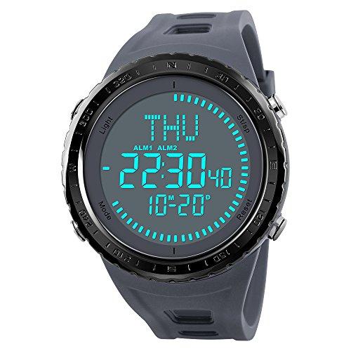 WATCH GYQ@ Outdoor-Kompass-Sportuhr mit automatischer Kalender-Weltzeit-Multifunktions-Schüleruhr,Gray