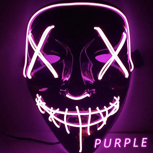 Changlesu Halloween LED Leuchten lustige Wahl Cosplay Kostümzubehör Party Masken (Lila)