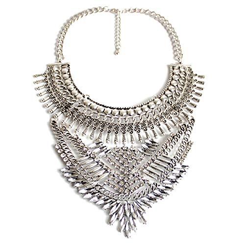 Blingbling_M Übertrieben Schlüsselbein Halskette Frauen Elegante Exquisite Charme Kragen Schmuck Glasmalerei Kristall Cluster Klobige Halskette Frauen Halskette -
