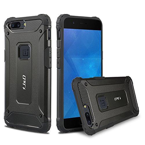 OnePlus 5 Hülle, J&D [ArmorBox] [Doppelschicht] [Heavy-Duty-Schutz] Hybrid Stoßfest Schutzhülle für OnePlus 5 - Schwarz