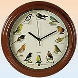 SSITG Wanduhr Birds mit Vogelstimmen Uhr Kinderuhr 25cm Wanduhren Uhren Holzoptik