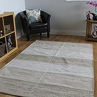 Tappeti moderni tessuti a mano facili da pulire in cotone, motivo a righe, colore beige (Cotone Tessuto Piano Tappeto)
