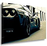 Schwarzer Sportwagen Leinwandbild / LaraArt Bilder / Leinwand Bild + Mehrfarbig + Kunstdruck a10-2 Wandbild 60 x 40 cm