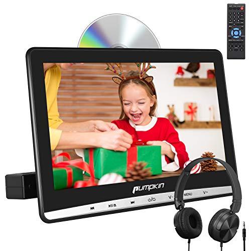 Pumpkin 12 pollici Lettore dvd auto poggiatesta,con cuffie, supporto Regione free/ USB/ SD/ AV-in/ AV-out/ cavo AUX, 18 mesi di garanz