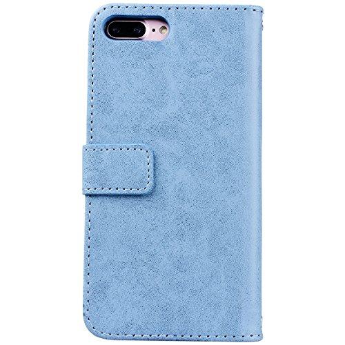 Yokata iPhone 7 Hülle Leder Premium Handyhülle Handy Schutzhülle Flip Case Wallet Tasche Handytasche mit Kartenfach Ständer Halter und Magnetverschluss Brieftasche Etui Schale Weiche Silikon Backcover Blau