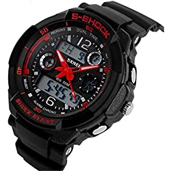 ETOWS® Boys Girls Sport Digital Watch Quartz Led Watch 50M Waterproof Students Children''s Wrist Watch (Red)