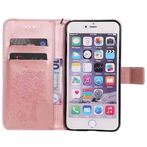 DaYiYang Case Cover 6s iPhone più il caso, solido Custodia in pelle colore PU Premium Embossing modello del basamento di vibrazione della copertura della cassa con Card e slot di cassa per il iPhone 6 Rosegold