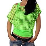 Crazy Age Frauen Partytop Sommertop Fasching Fest Netzoberteil aktueller Trend in Neonfarben- Einheitsgröße, Neongrün