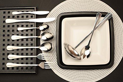 Heinner Besteck Set für 12 Personen - 68-tig Edelstahl New York Edition - Gemischter Set: Gabeln, Messer, Löffel, Salat-Utensilien, Suppenlöffel - Besteckset für Mittagessen und Abendessen